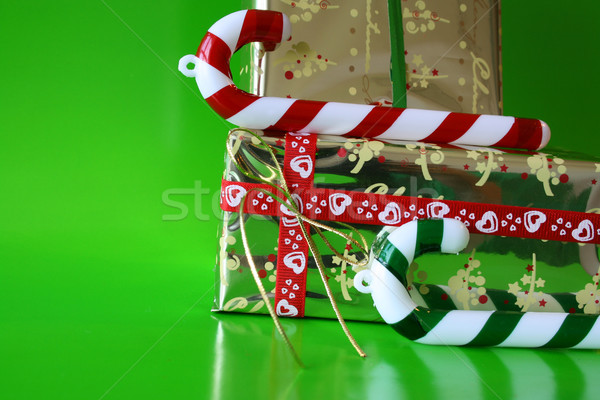 конфеты подарки Рождества украшения зеленый золото Сток-фото © vanessavr
