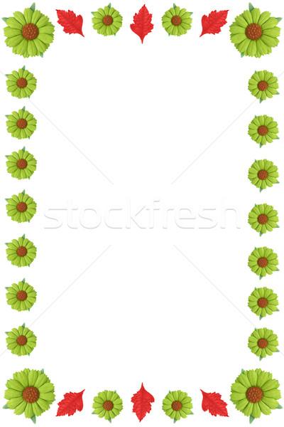цветочный границе зеленый цветы красный листьев Сток-фото © vanessavr