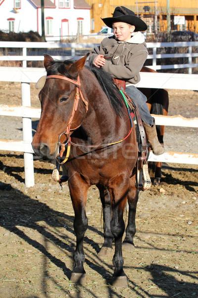 Foto stock: Vaqueiro · jovem · cavalo · escalada · homem · esportes