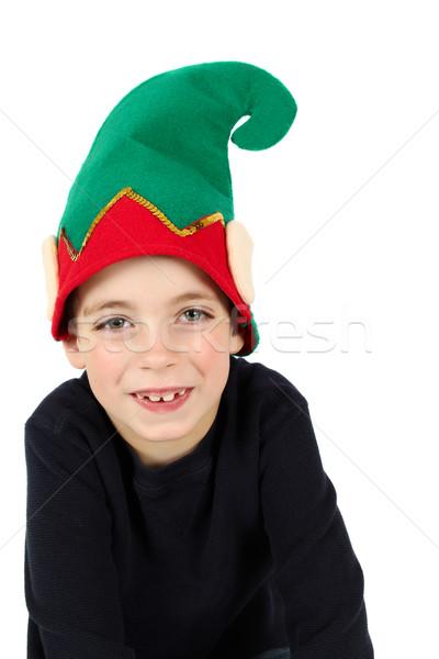 Manó fiú hét éves visel karácsony kalap Stock fotó © vanessavr