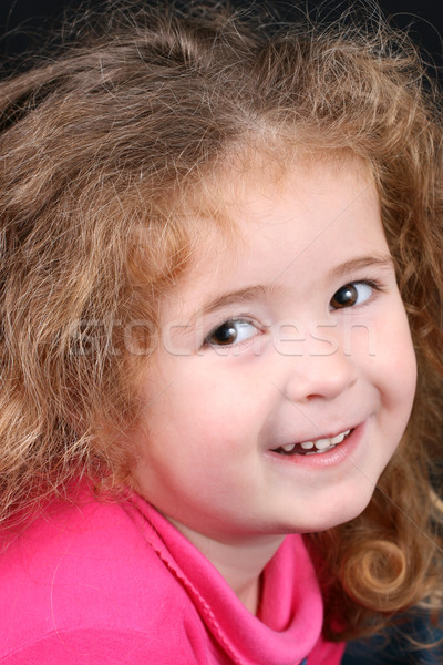 Lány rózsaszín gyönyörű fiatal lány göndör haj aranyos Stock fotó © vanessavr