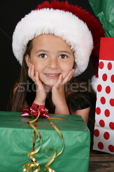 Рождества подарки Cute брюнетка девушки сидят Сток-фото © vanessavr