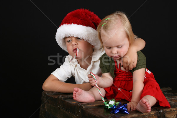 クリスマス 家族 弟 姉妹 食べ キャンディ ストックフォト © vanessavr