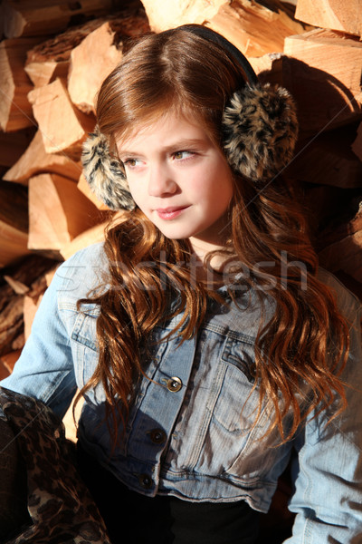 Tél tini piros lány visel szépség Stock fotó © vanessavr