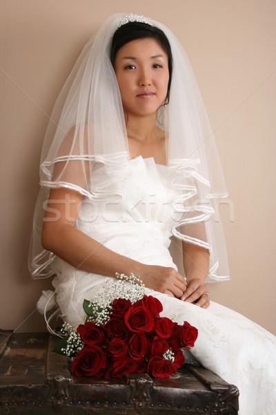 ストックフォト: 美しい · 花嫁 · 着用 · 伝統的な · ガウン · 赤いバラ