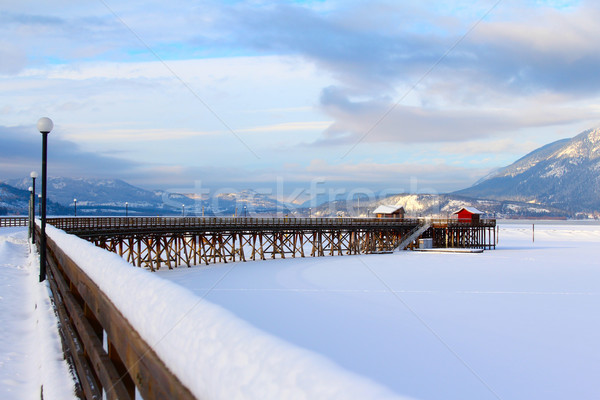 Сток-фото: пирс · снега · заморожены · озеро · лосося