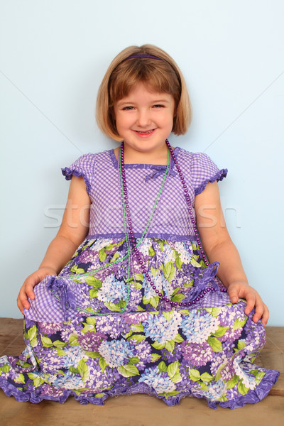女の子 かわいい 着用 紫色 ドレス 青 ストックフォト © vanessavr