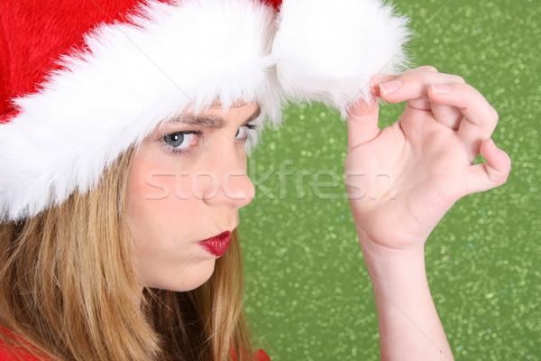 Рождества подростков подростку красные губы Hat Сток-фото © vanessavr
