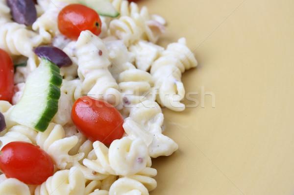 パスタ サラダ プレート 冷たい トマト 胡瓜 ストックフォト © vanessavr