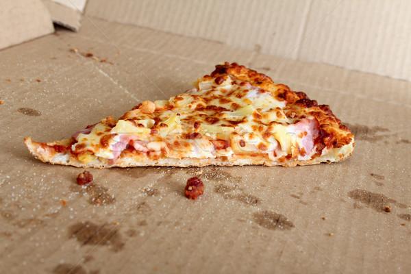 Utolsó szelet pizza étel sajt eszik Stock fotó © vanessavr