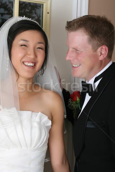 ストックフォト: ブライダル · カップル · 美しい · 結婚式 · 日 · 伝統的な
