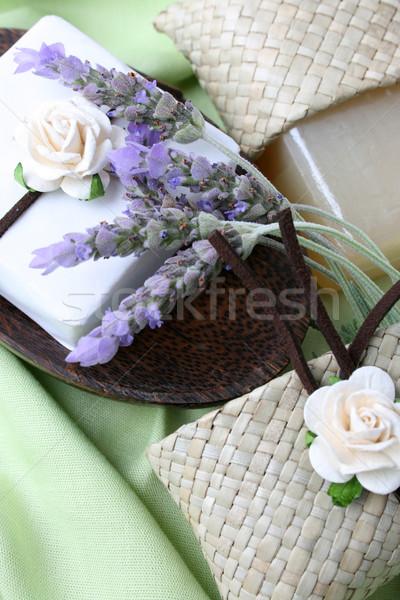 мыло блюдо подарок украшенный сумку древесины Сток-фото © vanessavr