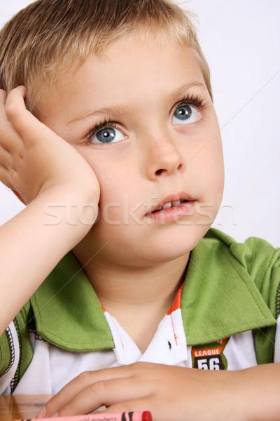 красивой мальчика глядя зеленый портрет Сток-фото © vanessavr