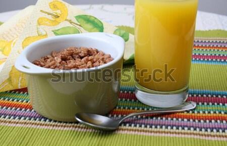 Stockfoto: Ontbijt · zemelen · granen · groene · kom · sinaasappelsap