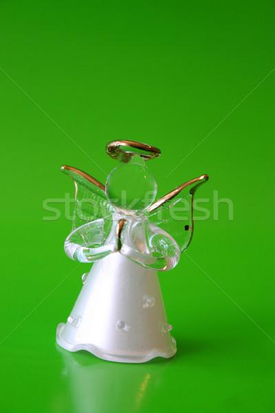 Рождества ангела стекла зеленый белый крыльями Сток-фото © vanessavr