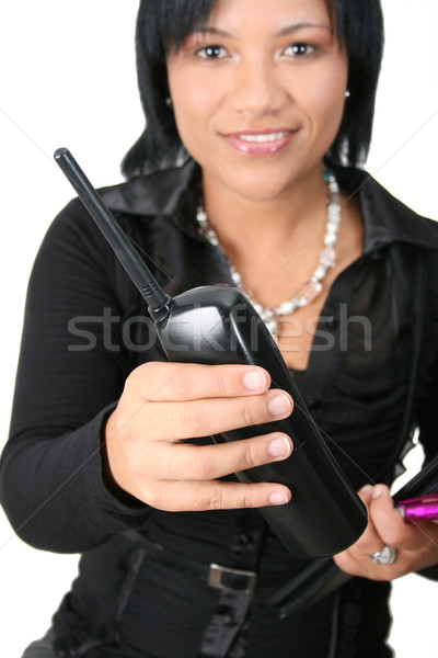 телефон красивой брюнетка женщины Focus Сток-фото © vanessavr