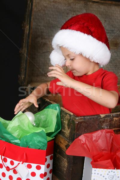 Рождества мальчика Cute сидят внутри антикварная Сток-фото © vanessavr