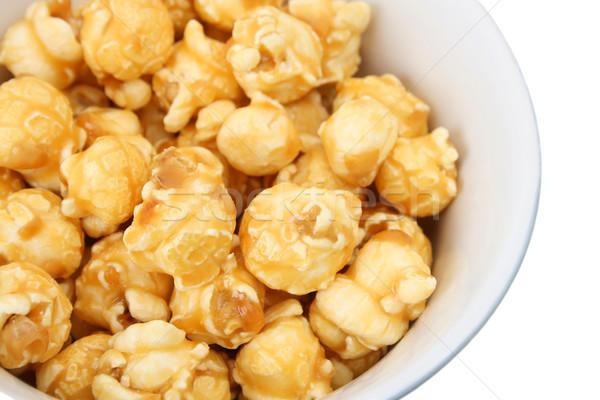 Karmel popcorn biały ceramiczne puchar żywności Zdjęcia stock © vanessavr