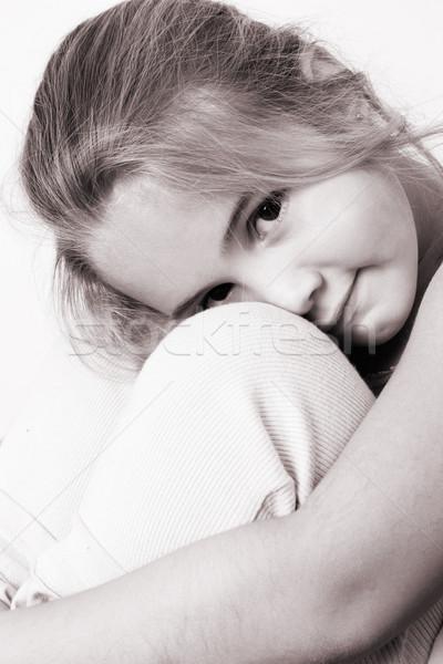 Mooi meisje mooie jong meisje diep bruine ogen meisje Stockfoto © vanessavr