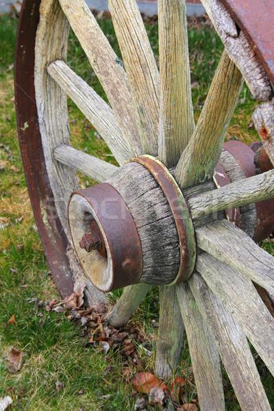 Vagon kerék rusztikus elnyűtt fából készült fű Stock fotó © vanessavr