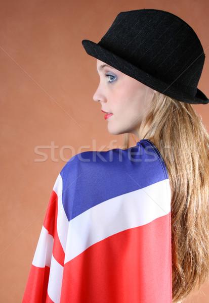 Union jack belo jovem feminino modelo cara Foto stock © vanessavr