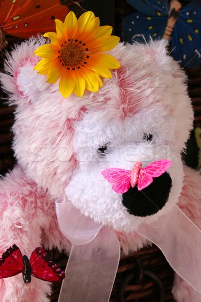 бабочка носа розовый мишка цветок волос Сток-фото © vanessavr