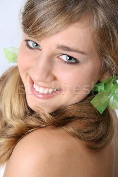 Gyönyörű tini tini női angyali arc Stock fotó © vanessavr