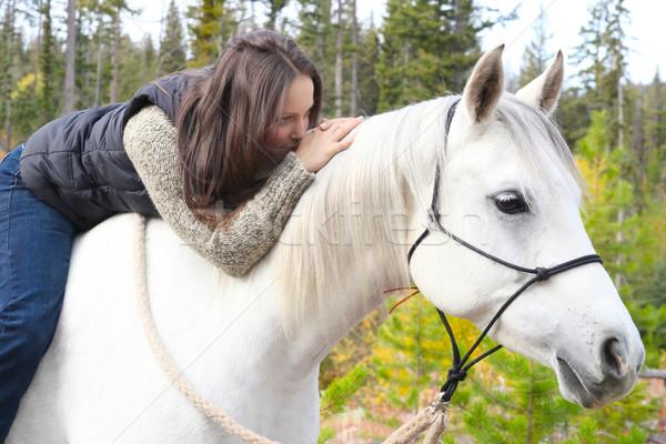 Paard mooie brunette vrouwelijke tijd Stockfoto © vanessavr