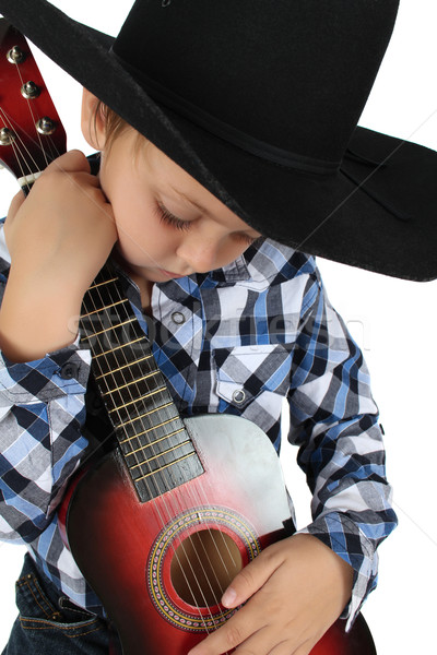 Cowboy muzyki piękna blond hat Zdjęcia stock © vanessavr