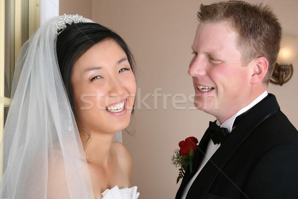 Menyasszonyi pár gyönyörű esküvő nap hagyományos Stock fotó © vanessavr