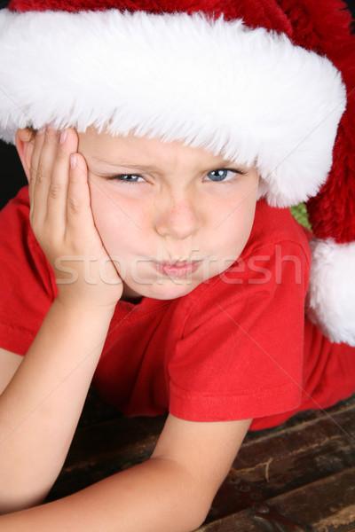 скучно мало мальчика пушистый Рождества Сток-фото © vanessavr