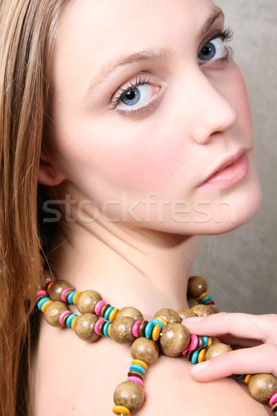 自然の美 美しい ブロンド 少女 カラフル ビーズ ストックフォト © vanessavr