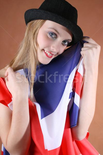 İngiliz bayrağı güzel genç kadın model yüz Stok fotoğraf © vanessavr