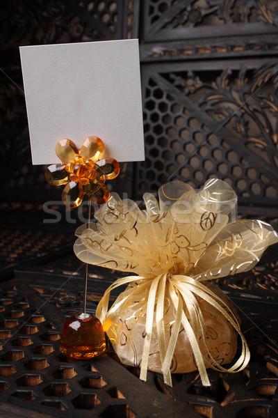 Arany esküvő ajándék név hely virágok Stock fotó © vanessavr