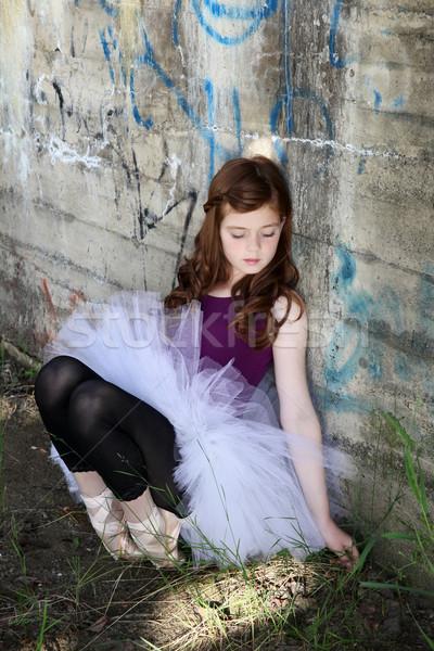 小さな バレリーナ 美少女 着用 白 落書き ストックフォト © vanessavr