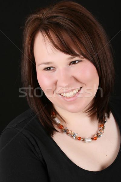 красивой брюнетка женщины черный лице модель Сток-фото © vanessavr