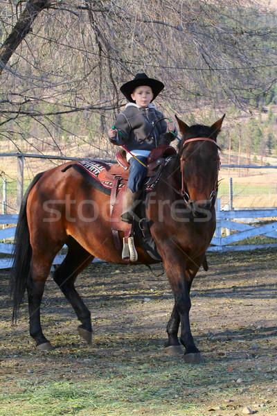 Vaqueiro jovem chapéu de cowboy equitação cavalo homem Foto stock © vanessavr