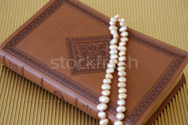 Pearls on leather Stock photo © vanessavr