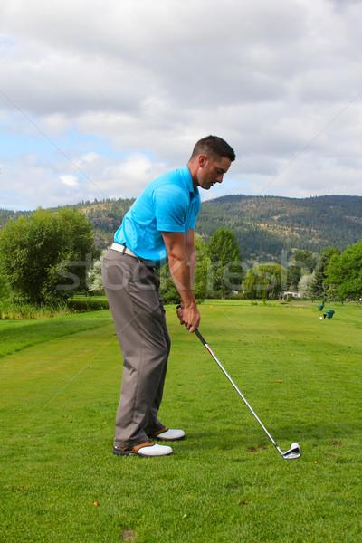 Jogador de golfe jovem masculino pronto homem golfe Foto stock © vanessavr