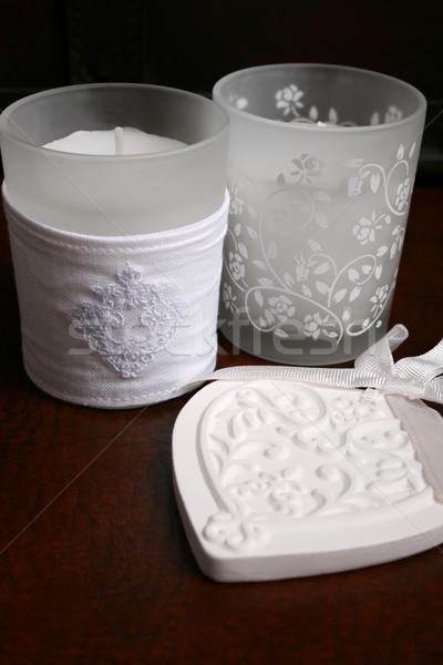 Keramische hart witte twee kaarsen glas Stockfoto © vanessavr