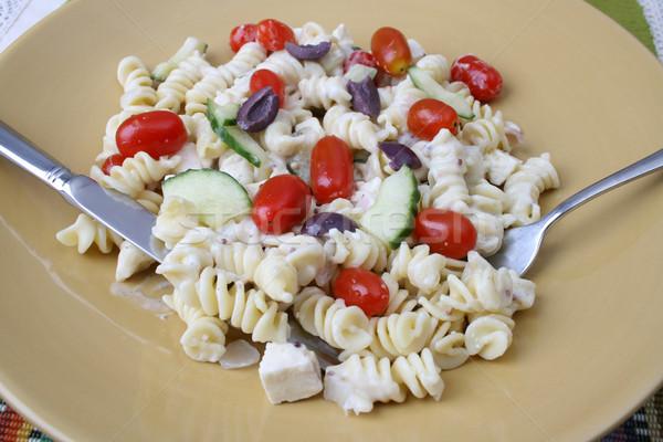 シーザーサラダ カトラリー 冷たい パスタ サラダ トマト ストックフォト © vanessavr