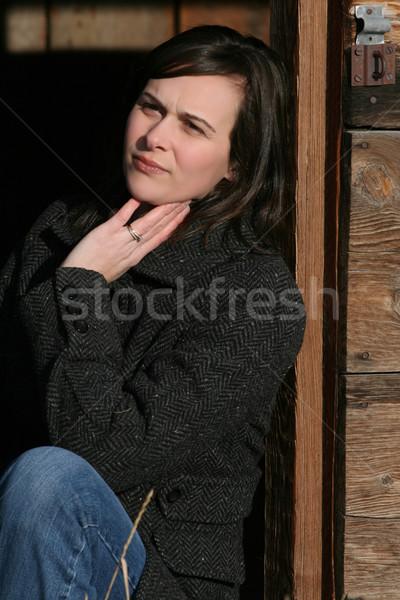 美しい ブルネット 女性 木製 納屋 ストックフォト © vanessavr