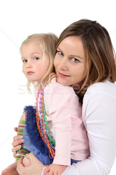 Anya lánygyermek ölelkezés felfelé együtt ház Stock fotó © vanessavr