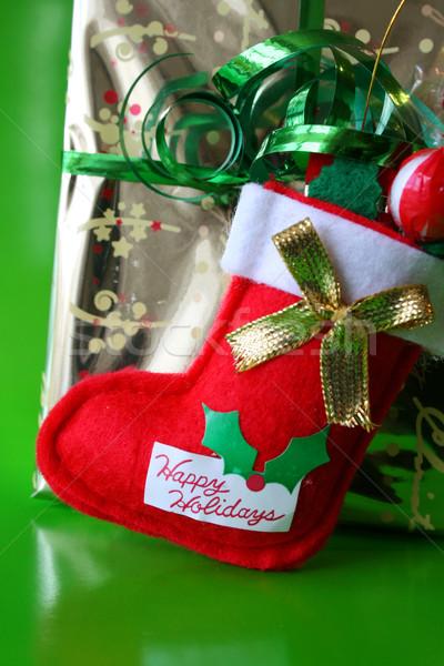 Karácsony harisnya arany piros fehér ünneplés Stock fotó © vanessavr