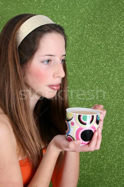 подростку зеленый брюнетка голову группы Сток-фото © vanessavr