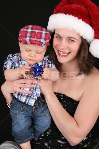 Foto d'archivio: Natale · famiglia · bella · madre · figlio · nero