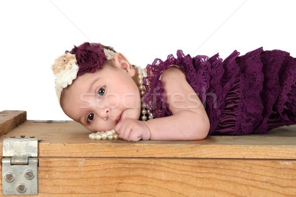 ブルネット 着用 紫色 木材 美 ストックフォト © vanessavr