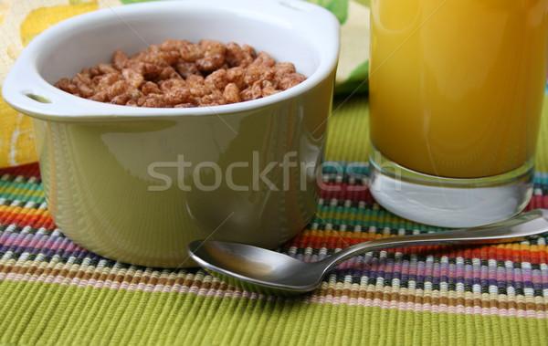 сухих завтраков зеленый чаши апельсиновый сок фрукты завтрак Сток-фото © vanessavr