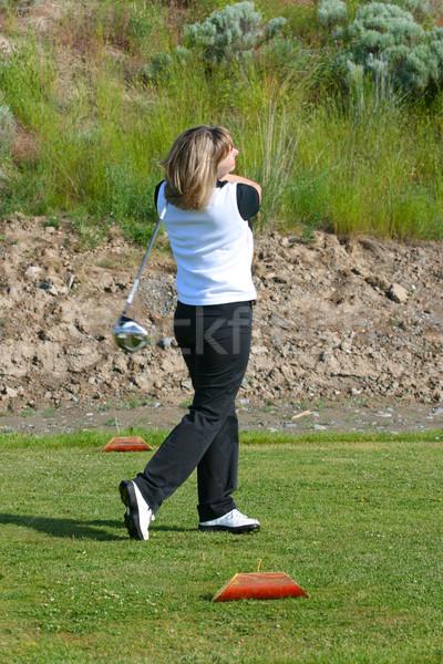 女性 ゴルファー ブロンド ゴルフ 自然 緑 ストックフォト © vanessavr