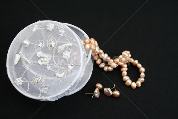 ジュエリー ボックス 白 ジュエリー 文字列 真珠 ストックフォト © vanessavr